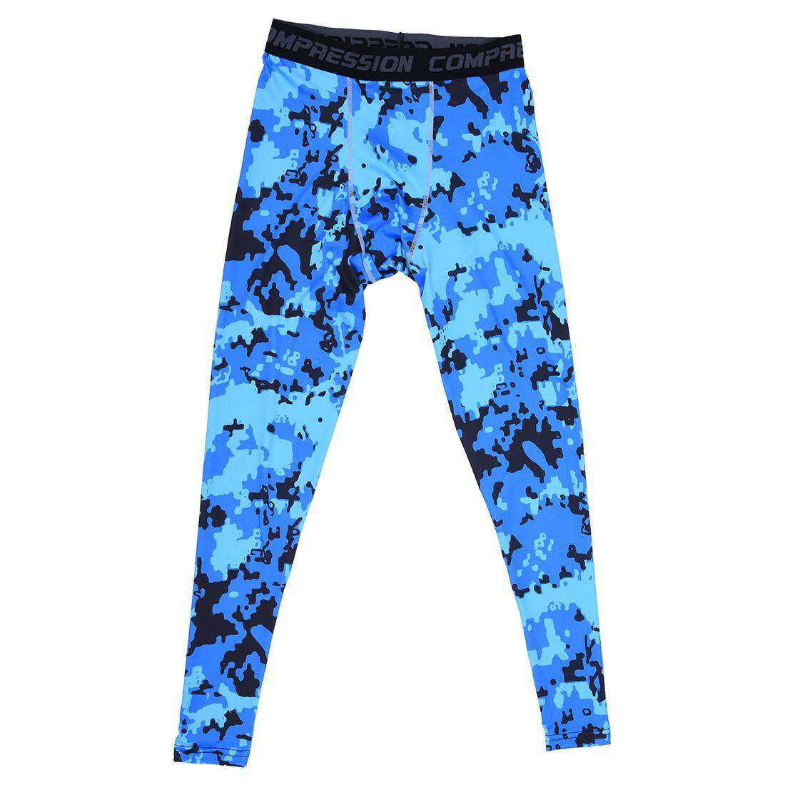 d34ed90d5c9 Men Compression Long Pants Running Base Layers Skins Tights Army Camouflage  Soccer Joggers Trousers(Blue