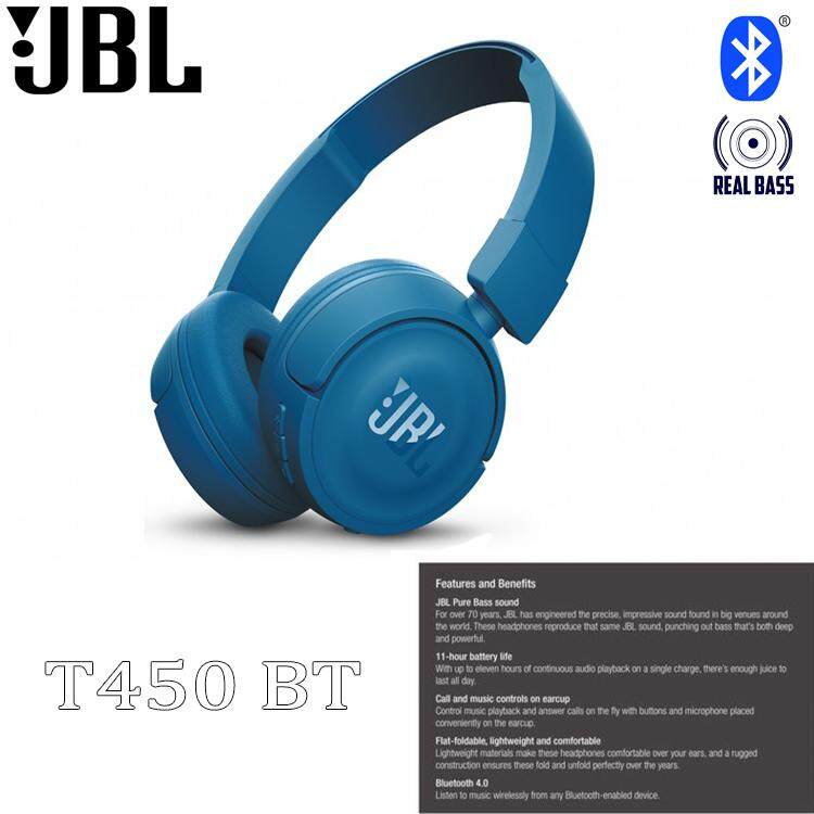f9154bf1d37 JBL T450BT WIRELESS BLUETOOTH HEADPHONES PURE BASS SOUND FLAT FOLDABLE