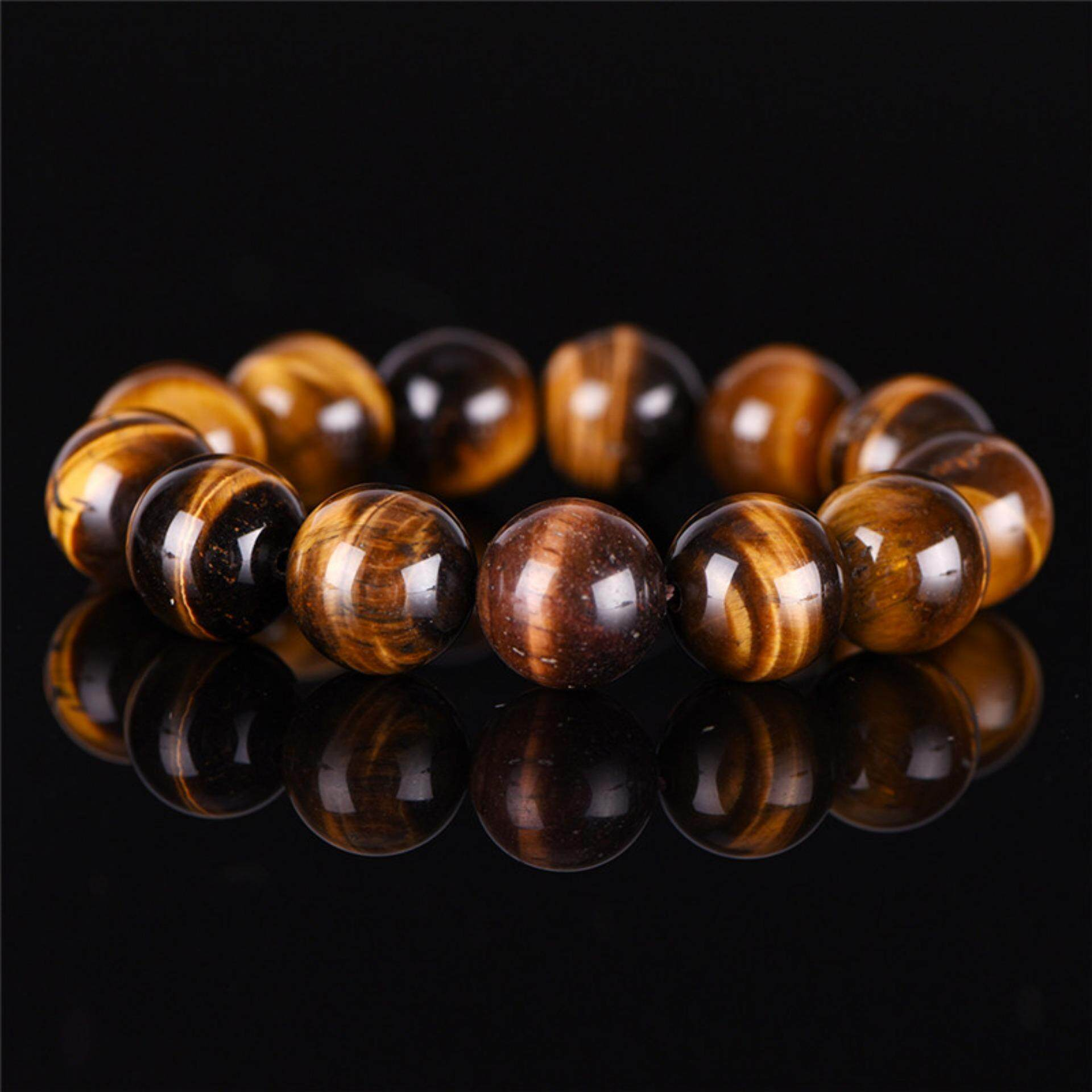 Natural Tiger Eye Stone Lucky Bless Beads Men Woman Jewelry Bracelet Bangle Chic 6mm By Magical House.
