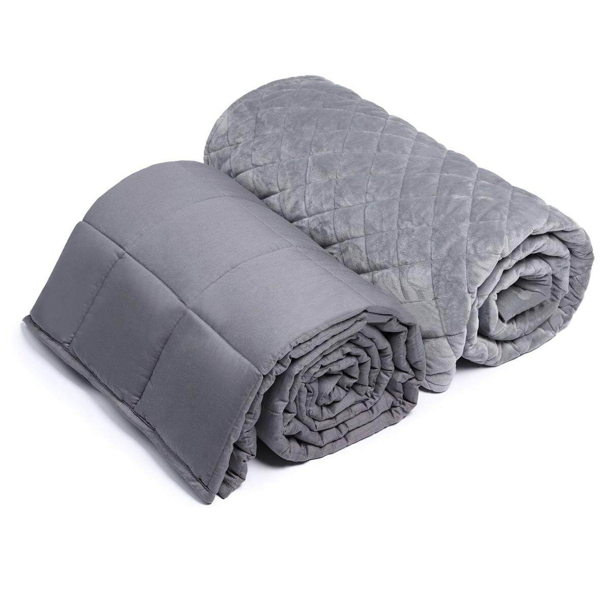 Weighted Blanket Heavy Sensory Gravity Kid Adult Sleep Anxiety With Cover 120*180(15lbs) By Audew.
