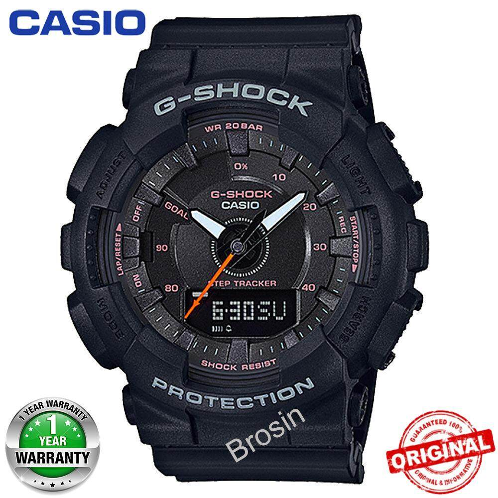 (Ready Stock) G-Shock S-Series GMAS130 Duo W/Time 200M Water Resistant Shockproof and Waterproof World Time Pedometer Sports Watch LED Auto Light Wist Sport Watches for Men Women with 1 Year Warranty GMA-S130VC-1A Black Malaysia