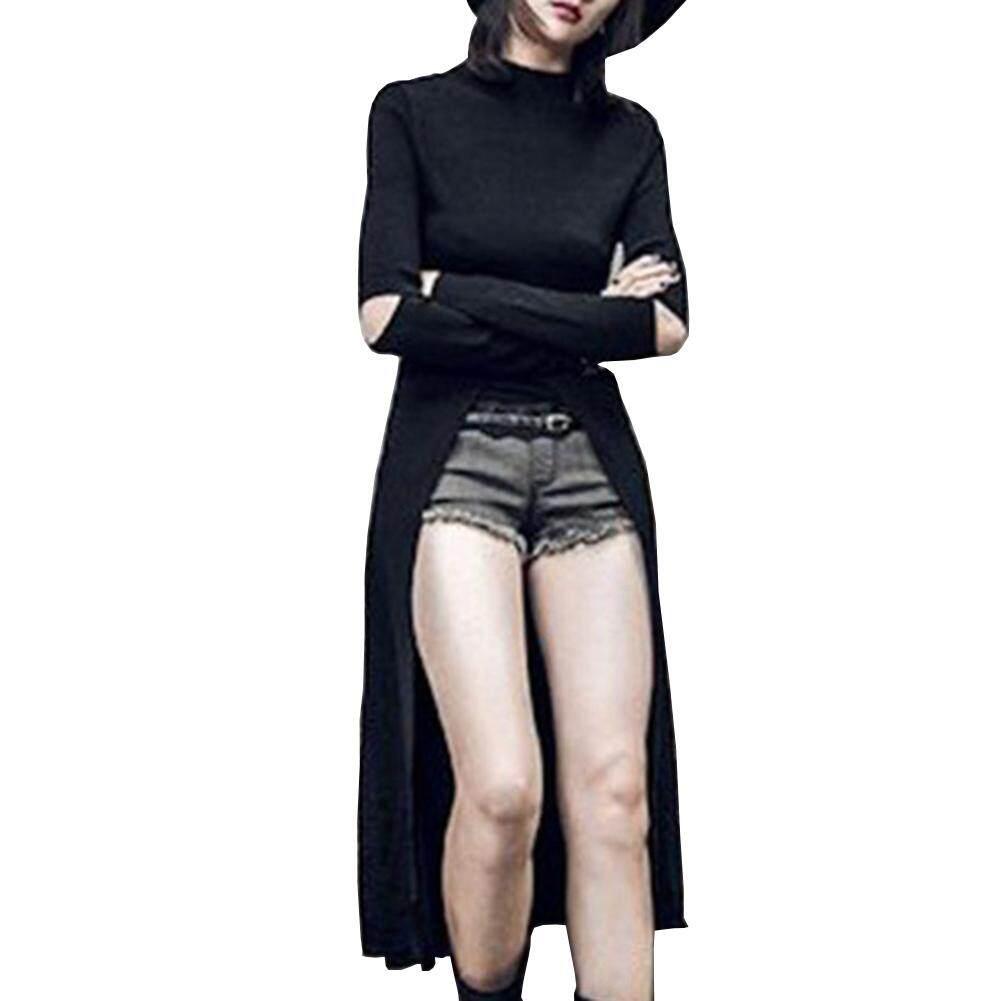 546f8b8594c Women Black Top Gothic Irregular Hem Tees Dress Pullover Dress