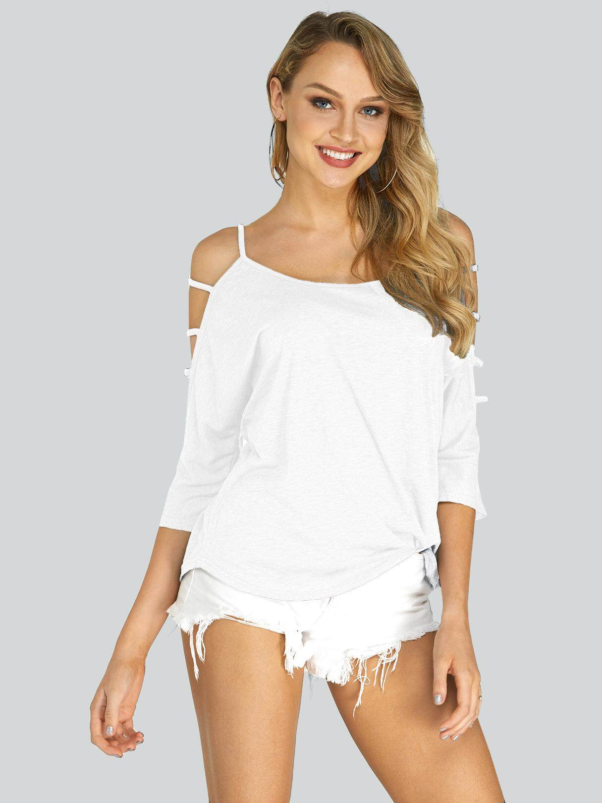 7ba6e1182b8 YOINS Spring Summer Women Ladies Sexy Hollow Cut Out Cold Shoulder 3 4  Sleeve T