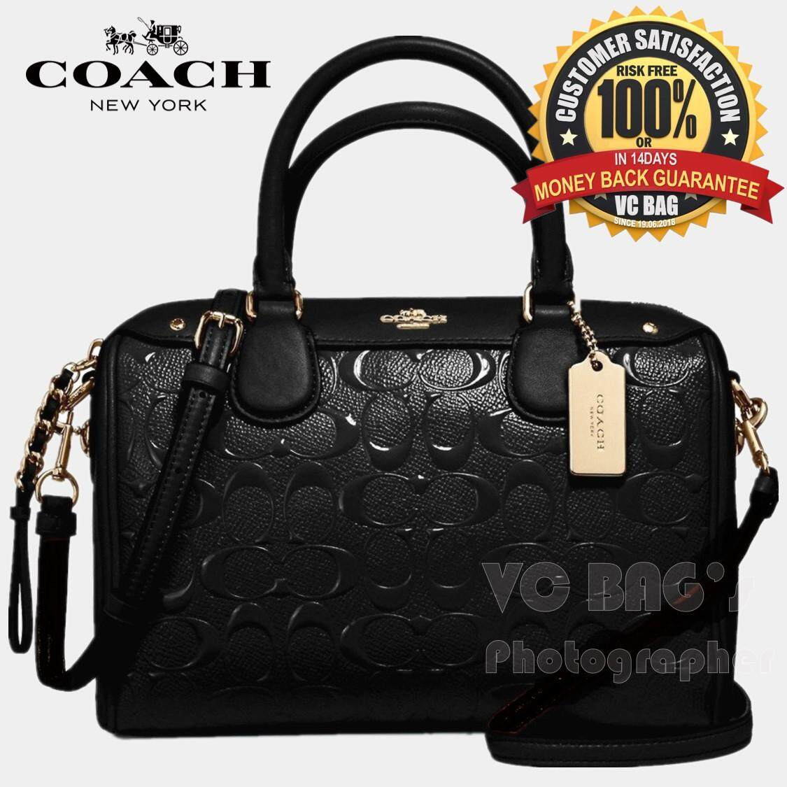 bd8a3e59abc COACH F11920 Mini Bennet Satchel in Signature Debossed Patent Leather Bag   Light Gold Black