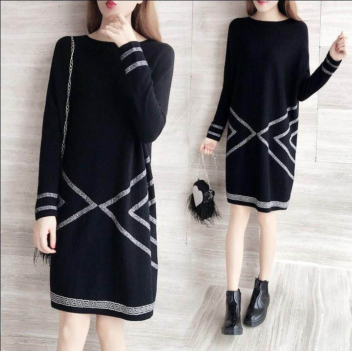d86e93d020 Spring new Korean women s youth fashion casual loose round neck cotton long-sleeved  dress