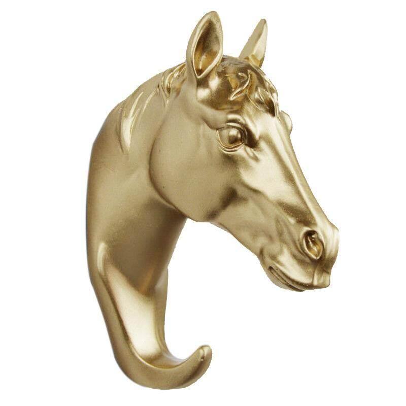 Head Deer Animal Ornamental Hook Creative 1 Pcs Hanging Head Hat, Gold horse