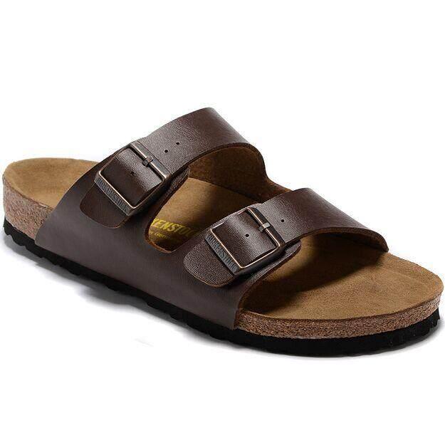 Brand Birk BK Men's Authentic Birkenstocks Arizona Veloursleder Weichbettung Flat Slippers Size 40 46 (Dark Brown)