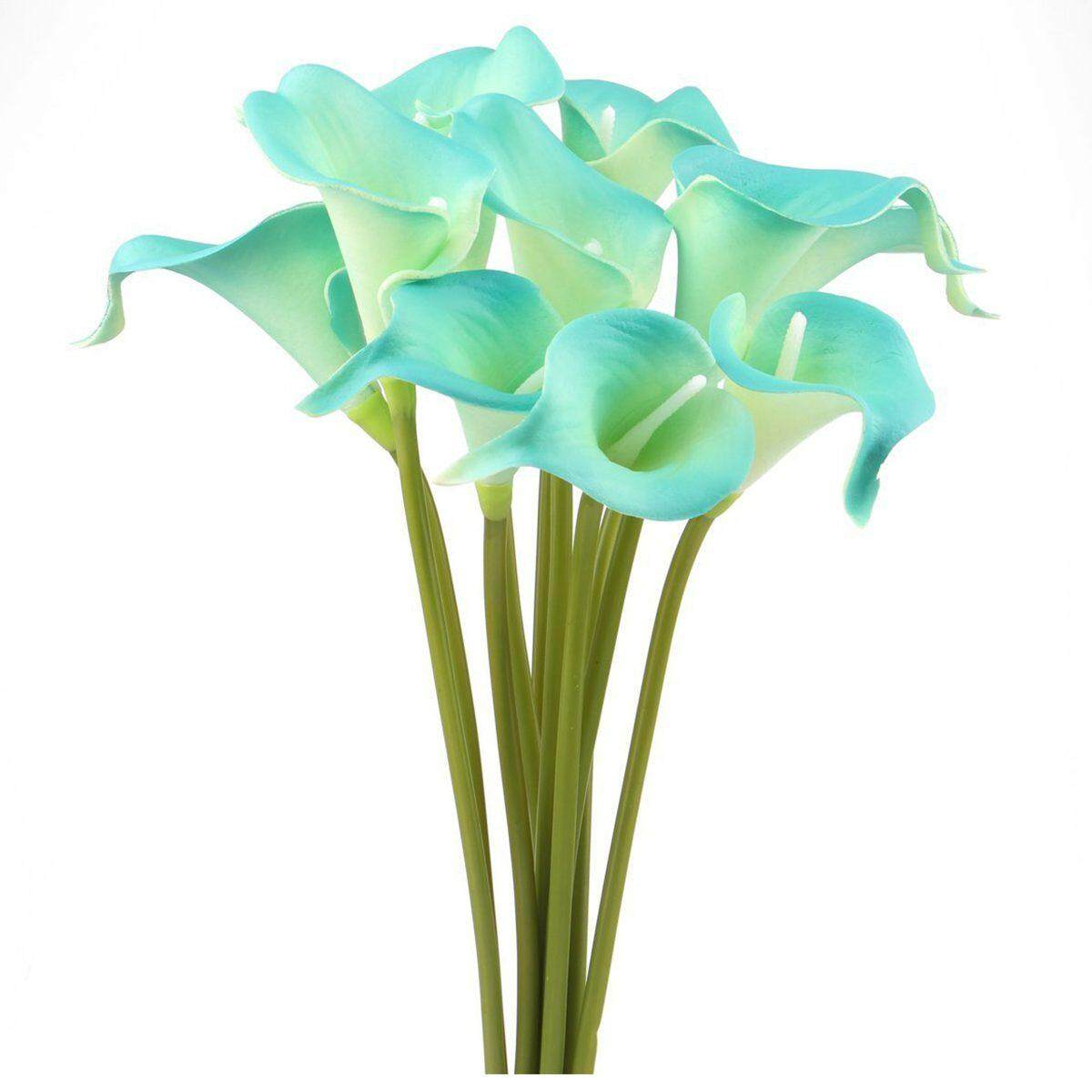 Home artificial flowers plants buy home artificial flowers calla lily bridal wedding bouquet head real touch flower bouquets 10 blue izmirmasajfo