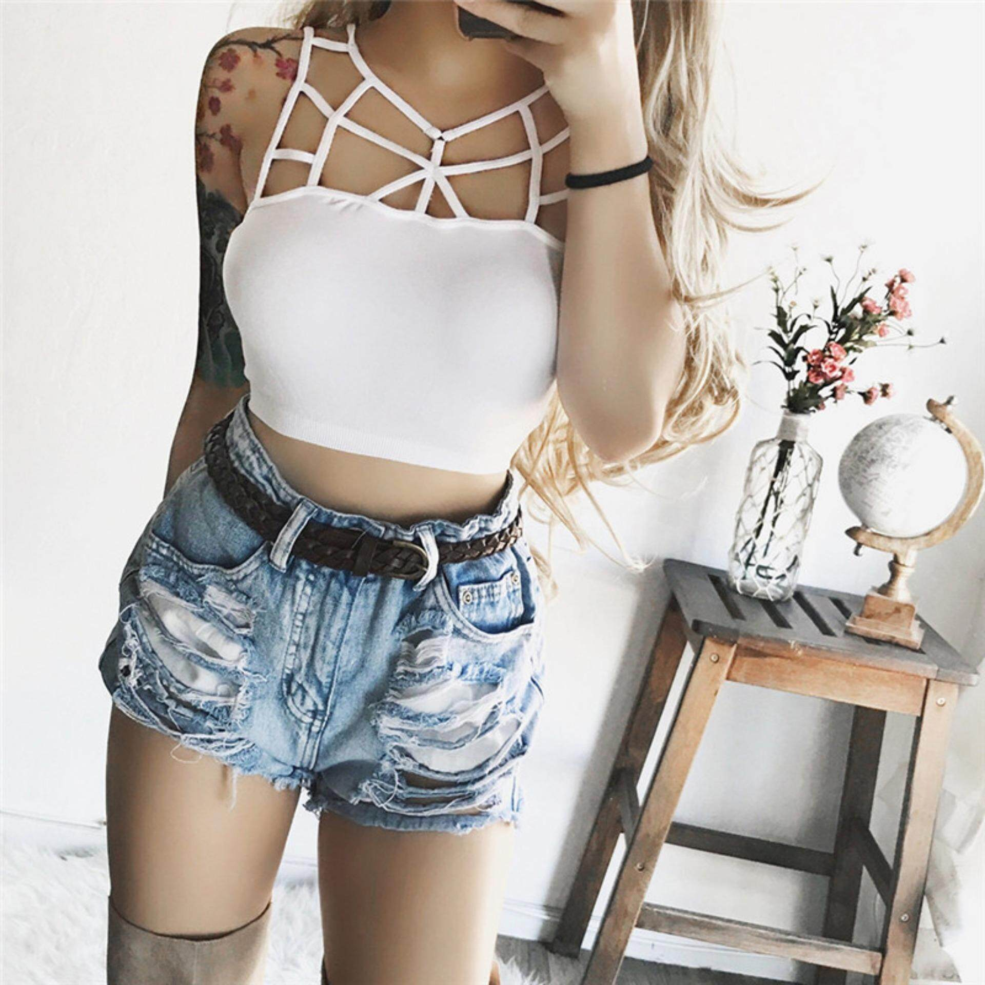 f853d3028ccdf Sexy Women Crop Bustier Corset Tops Strappy Tank Blouses Sling Vest Cut Out