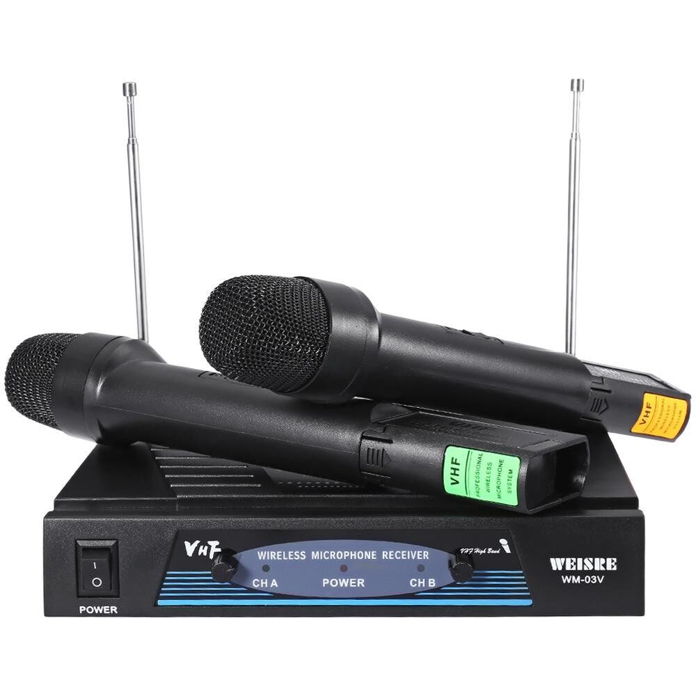 Weisre Wm - 03v Professional 210 - 280mhz Karaoke Wireless Handheld Vhf Transmitter Microphone Set By Alibaber Group.