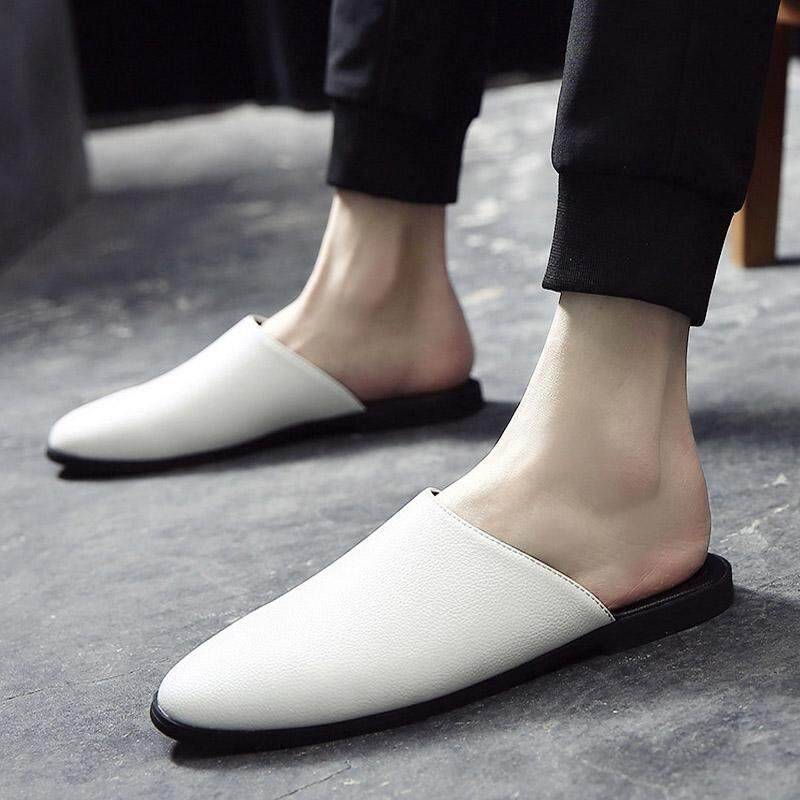78874d78963d HKS HELLO Handmade PU Leather Shoes Men Slippers Summer Half Drag Loafers  Beach Shoes Male Slides