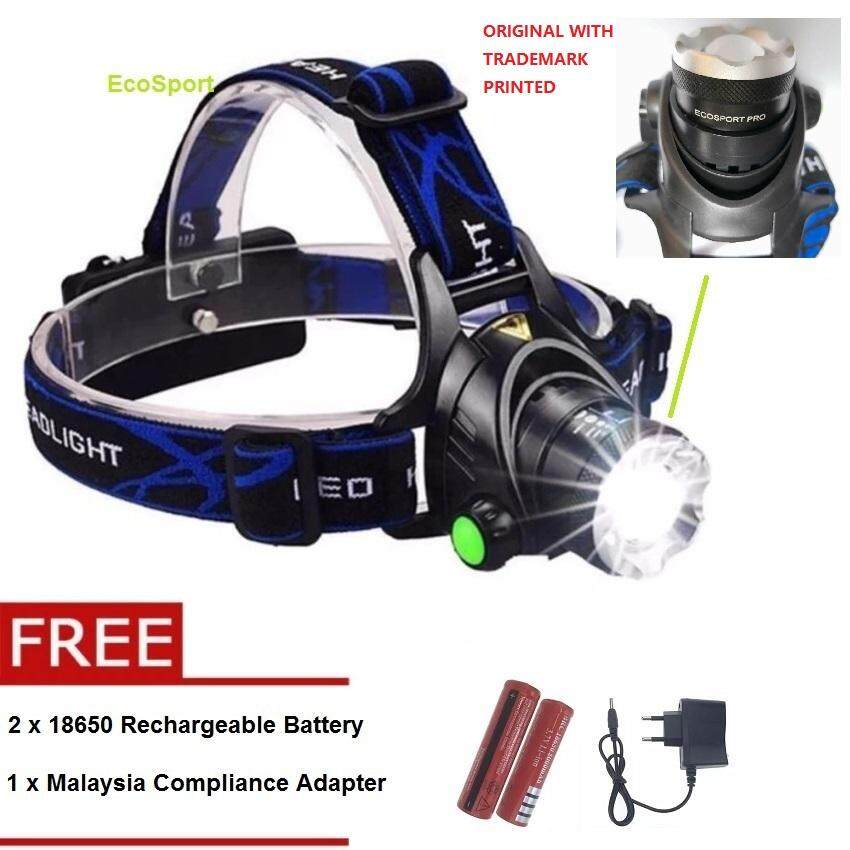 Ecosport Rechargeable Camping Led Headlight Cree T6 Headlamp Torch Flashlight + Free 2 Rechargeable Battery And Malaysia Compliance Adapter Solely Distributed By Florasun By Florasun.