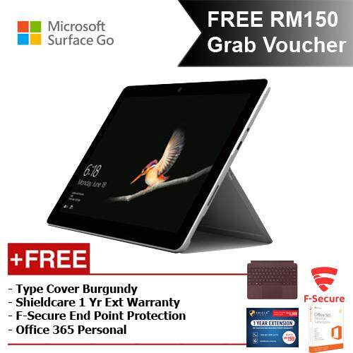 Microsoft Surface Go Y/4GB 64GB + Surface Go Type Cover Burgundy + Shieldcare 1 Year Entended Warranty + F-Secure Endpoint Protection + Office 365 Personal Malaysia