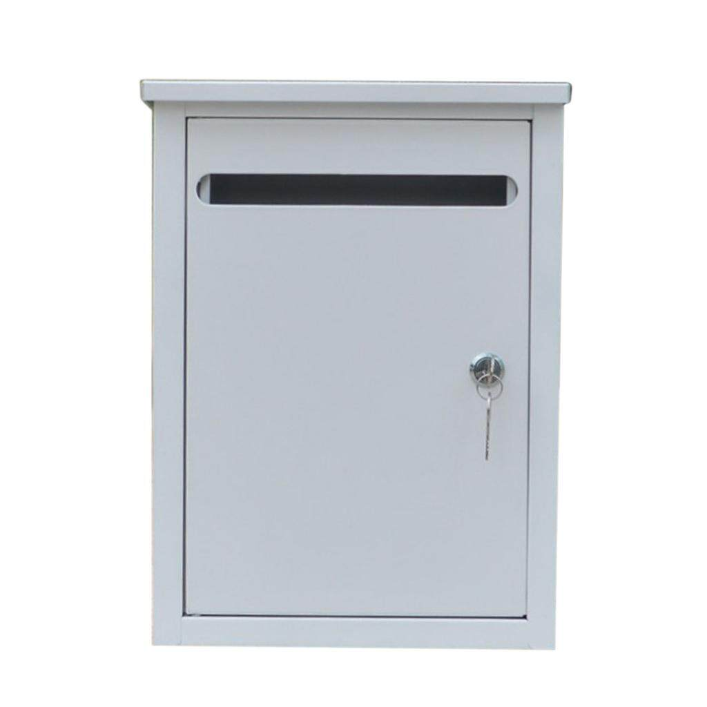 Loviver White Iron Lockable Wall Mounted Home Balcony Garden Letter Box Mailbox