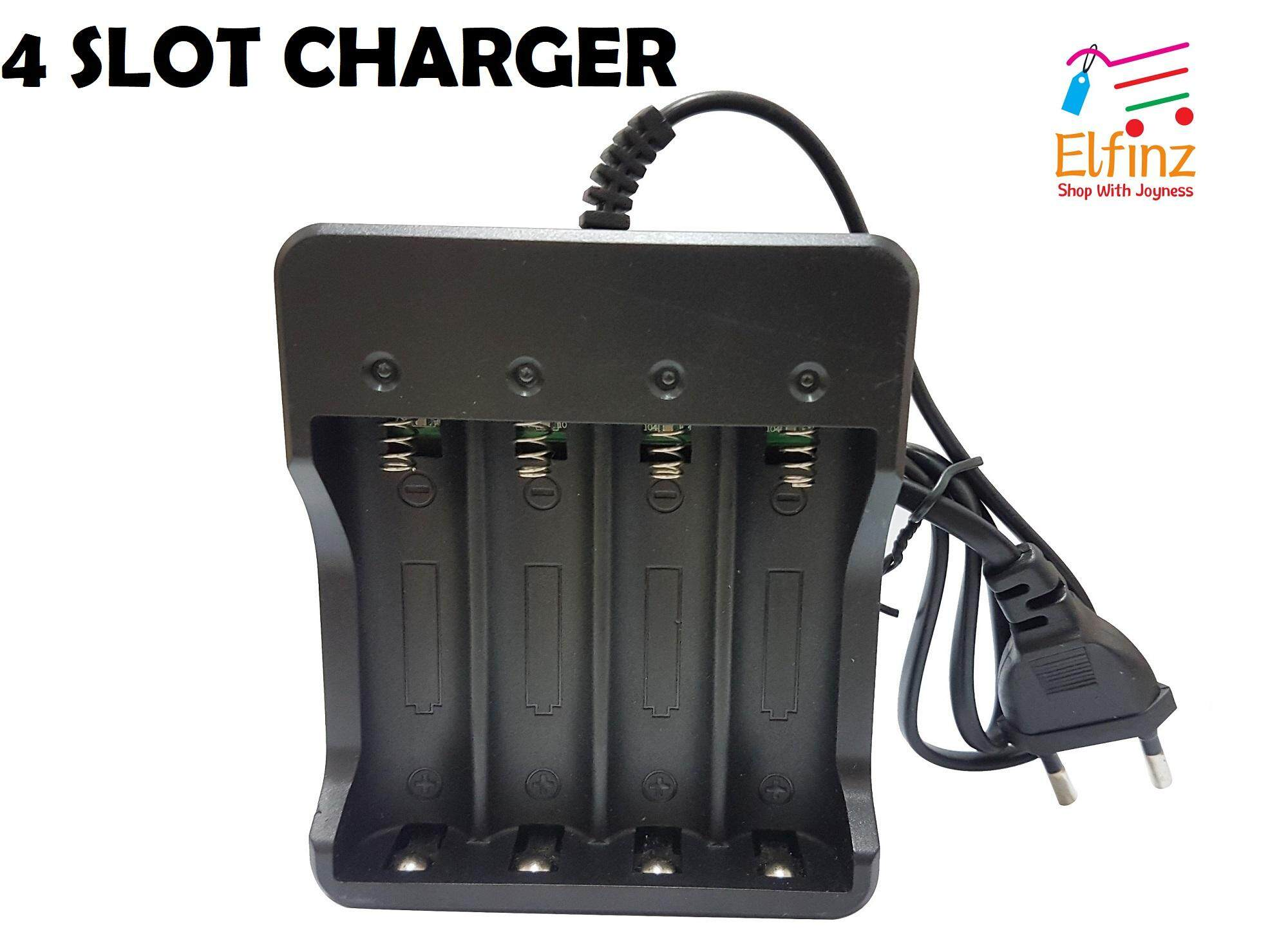 4 SLOT CHARGER 4.2V 3.7V RECHARGEABLE LI-ION BATTERY BUTTON TOP BATERAI 18650 FOR VAPE FOR BUTTON TOP