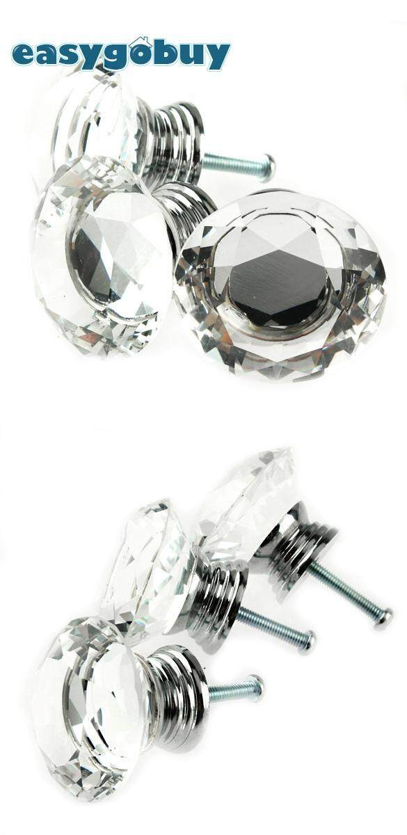 10 Pcs 40mm Crystal Glass Diamond Shape Clear Cabinet Knob Drawer Pull Handle Kitchen Door Wardrobe