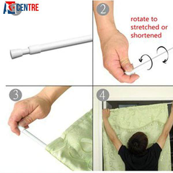 Adjustable tension bathroom curtain extensible rod hanger 6.png