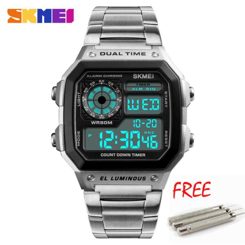 SKMEI 1335 New Men Sports Watches Count Down Waterproof Watch Stainless Steel Fashion Digital Wristwatches Male Clock Malaysia