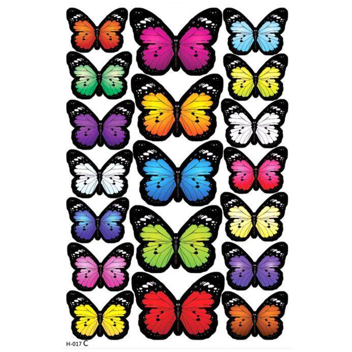 Denetytres 19pcs Decal Wall Stickers Home Decorations 3D Butterfly Rainbow