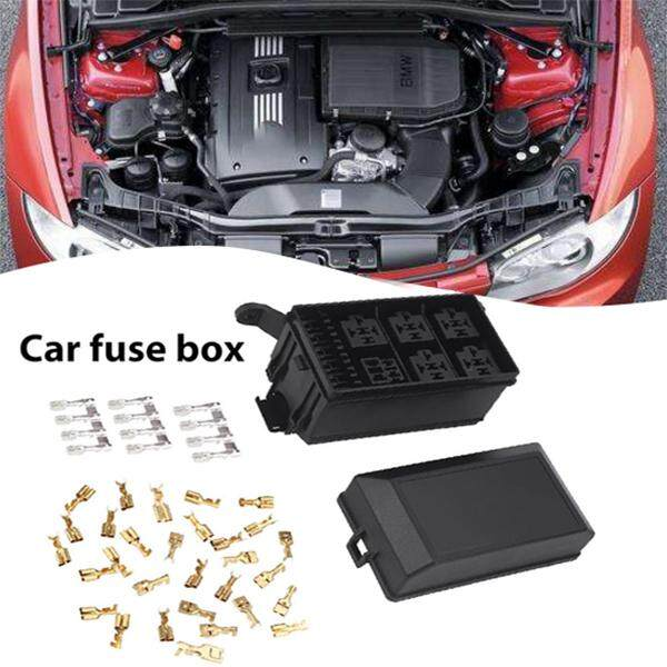 3  thank you for your kindly understanding  package includes: 1 x car fuse  box auto 6 relay block holder 5 road for nacelle car insurance 33 x pin