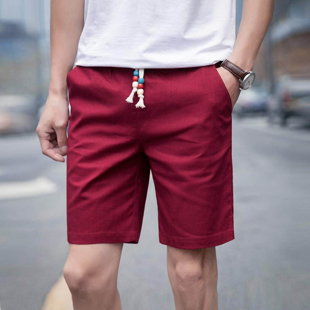 b5eb6cac8 New Men Summer Linen Cotton Solid Beach Casual Elastic Waist Classic Fit  Shorts