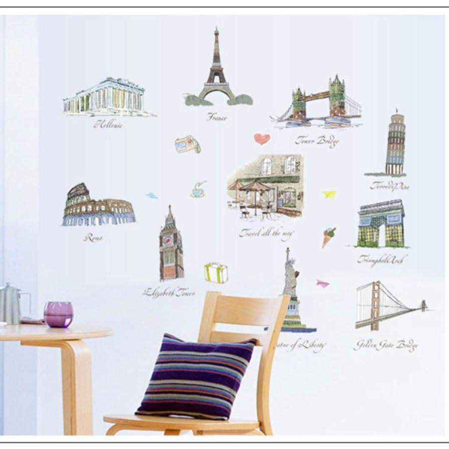 Waterproof Wall Sticker Famous European Architecture Paris Tower City Sketch Sofa Background Living Room Bedroom Decoration Wall Sticker.
