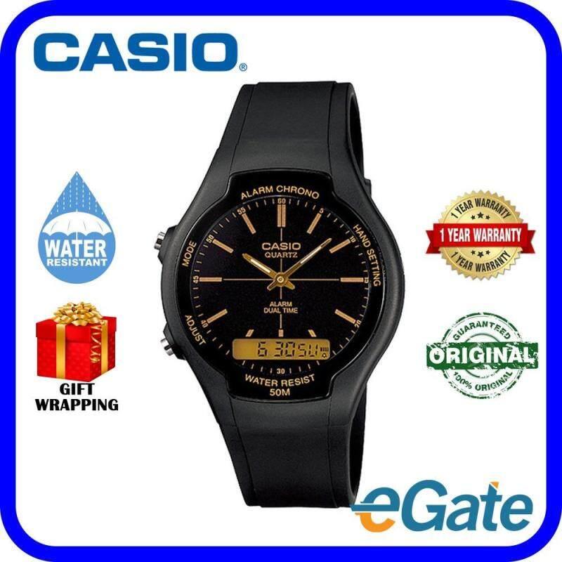 Casio AW-90H-9E Analog Unisex Watch Black Brown Casual Original Malaysia