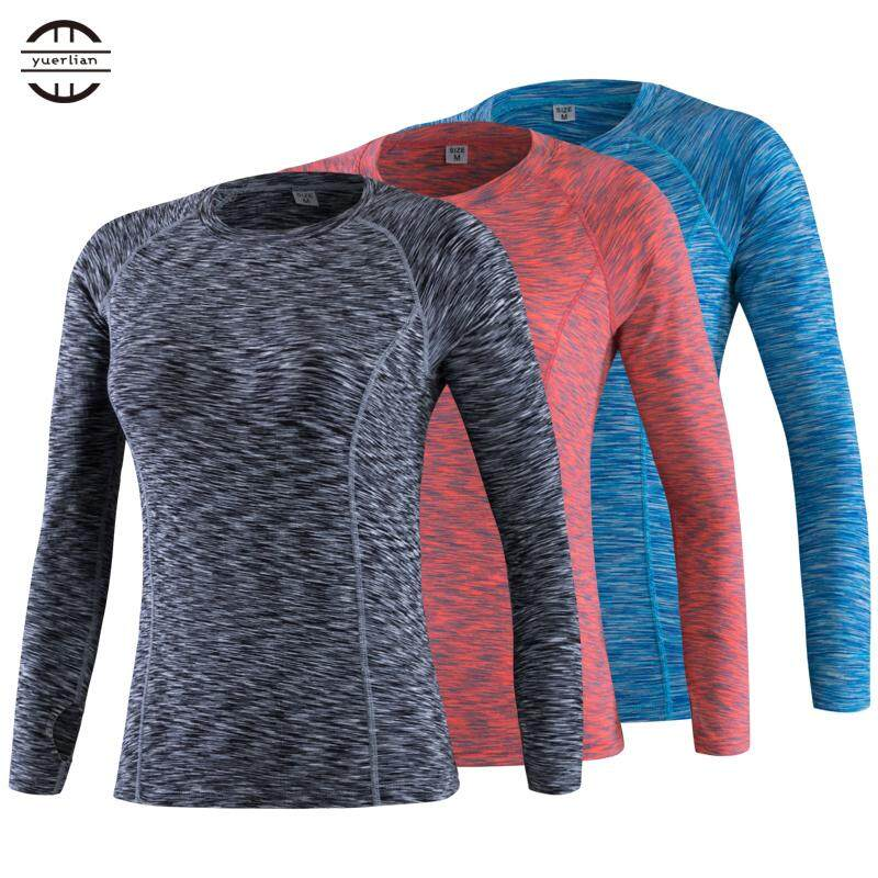 Women High Elastic Compression Tights Clothing Fitness Gym Exercise Training Sports Running Yoga Long Sleeve Shirts By Tristaxu.