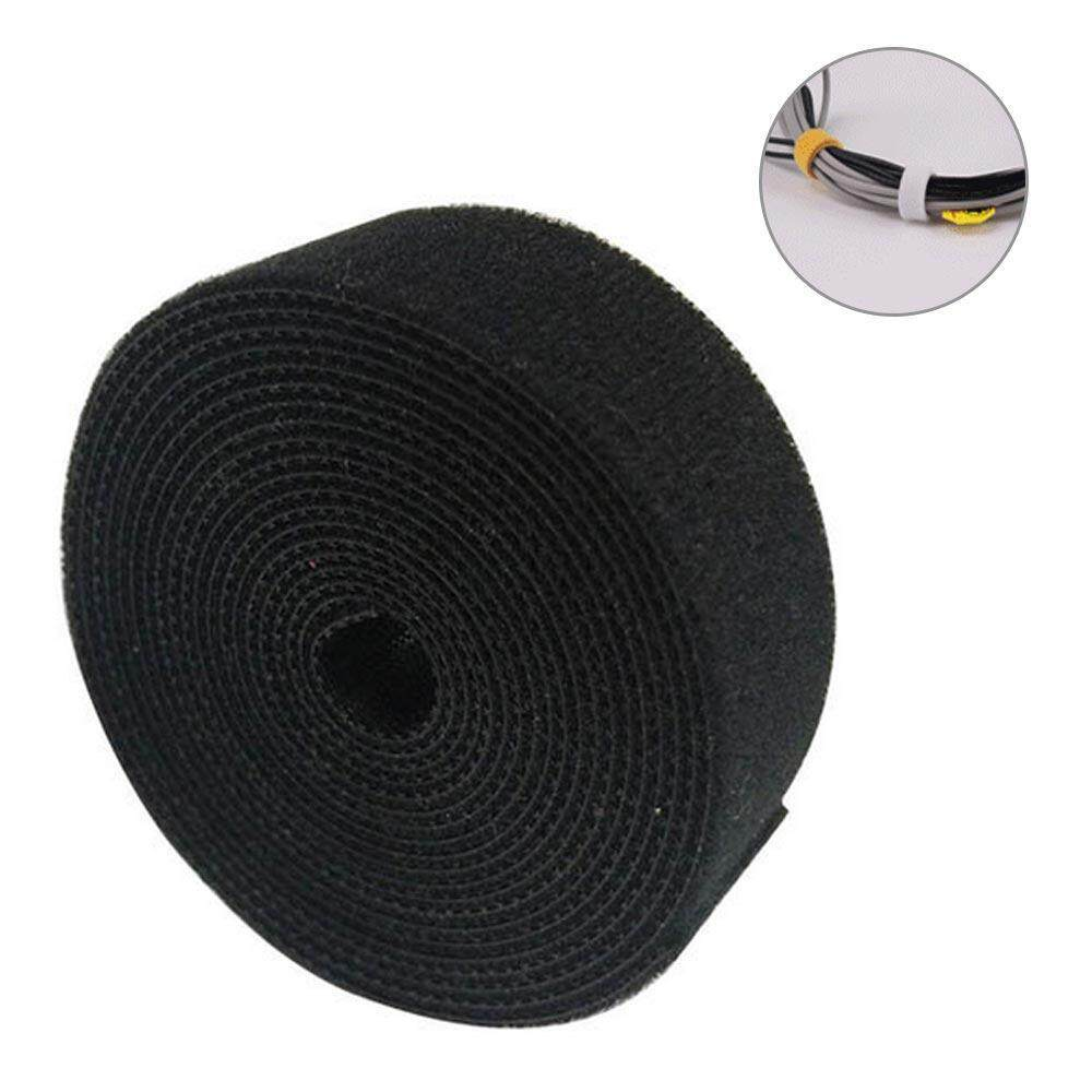 Treeone 1.45CM*5M Black Reusable Nylon Velcro Hook Loop Cable Cord Ties Tidy Straps Organiser