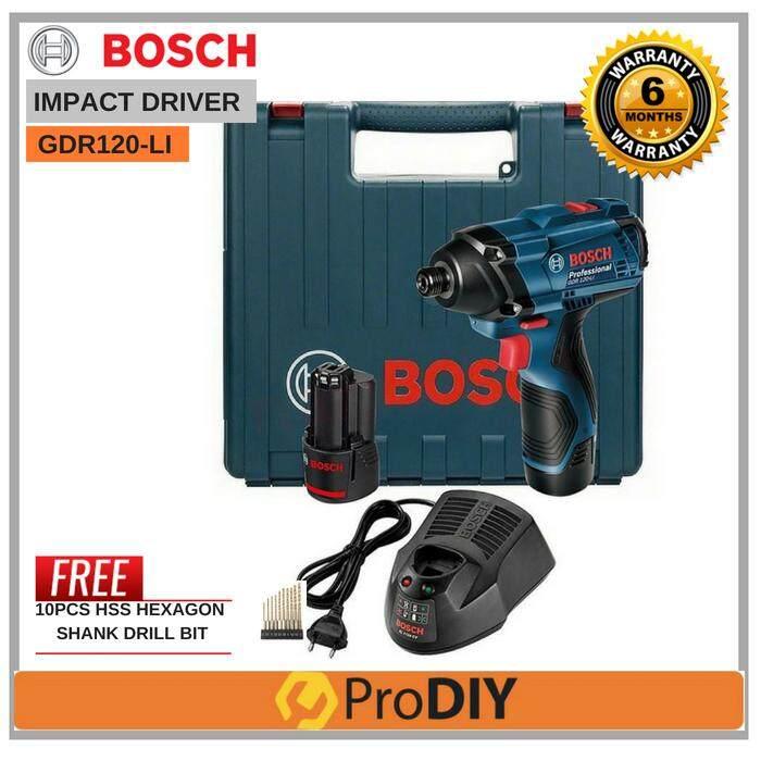 BOSCH GDR 120-LI 12V Impact Cordless Drill Driver FOC 10Pcs HSS Bits Set