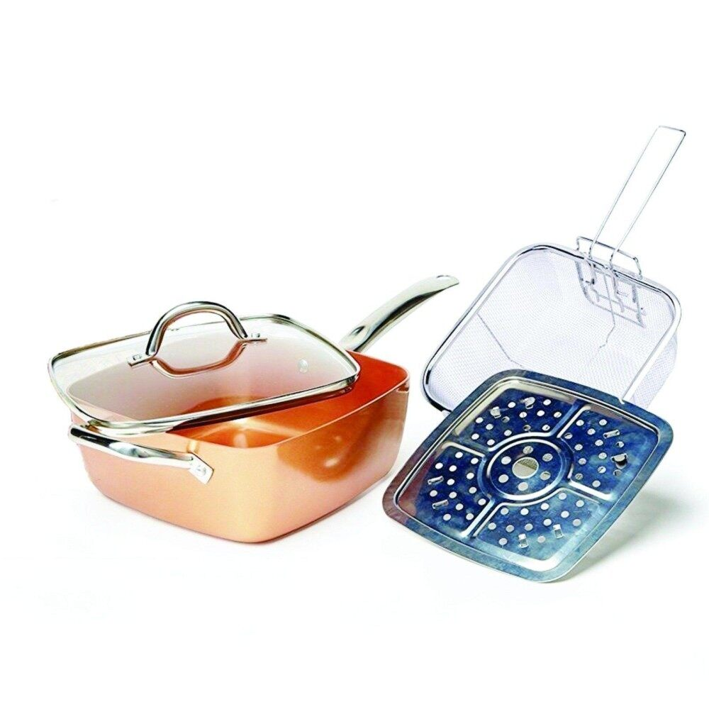 4pcs 9.5 Copper Square Pan W Glass Lid Induction For Chef Fry Basket Steam Rack By Teamtop.