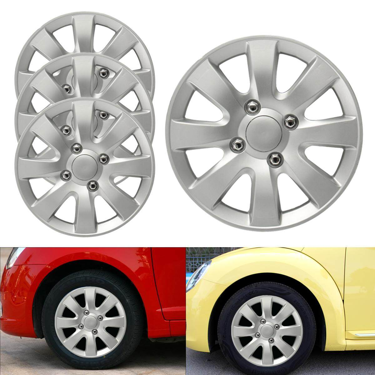 Set Of 4 X 15 Inch Alloy Look Car Wheel Trims/covers/silver 15 Hub Caps By Audew.
