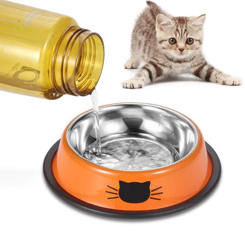 Comsmart Stainless Steel Pet Cat Bowl Puppy Dish Bowl With Cute Cats Painted Non-Skid For Small Dogs Cats (grey/grey) By Sawu.