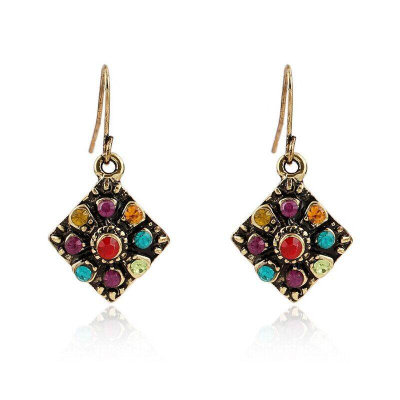 Lawsonshop Fashion Women Girls Bohemian National Wind Retro Rhinestone Earrings By Lawsonshop.