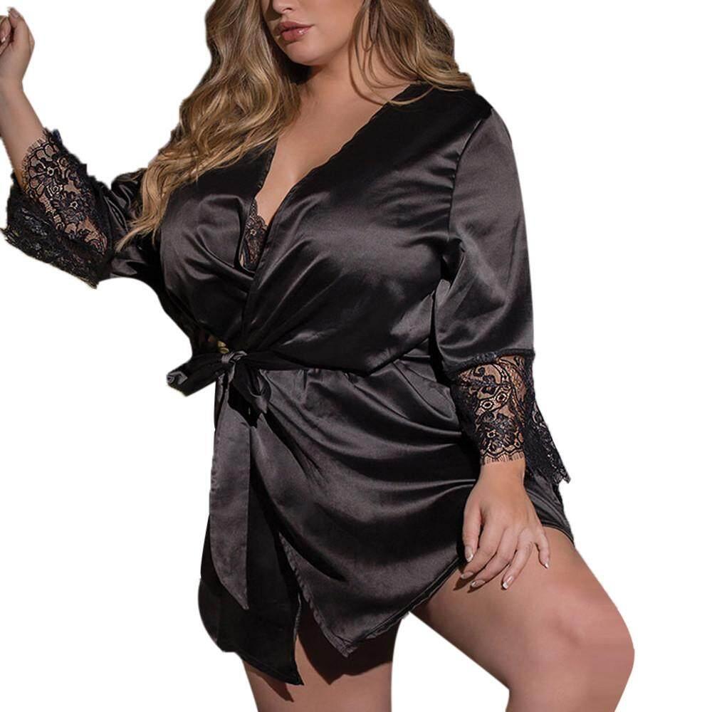 d6a84dfb56 Wallerstore Women Sexy Silk Kimono Dressing Gown Babydoll Lace Lingerie  Bath Robe Nightwear