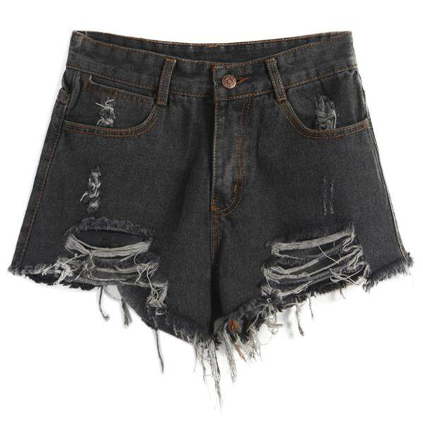 Womans Summer Wind High Waist Denim Shorts Women Worn Loose Burr Hole Shorts, Black S By Fastour.