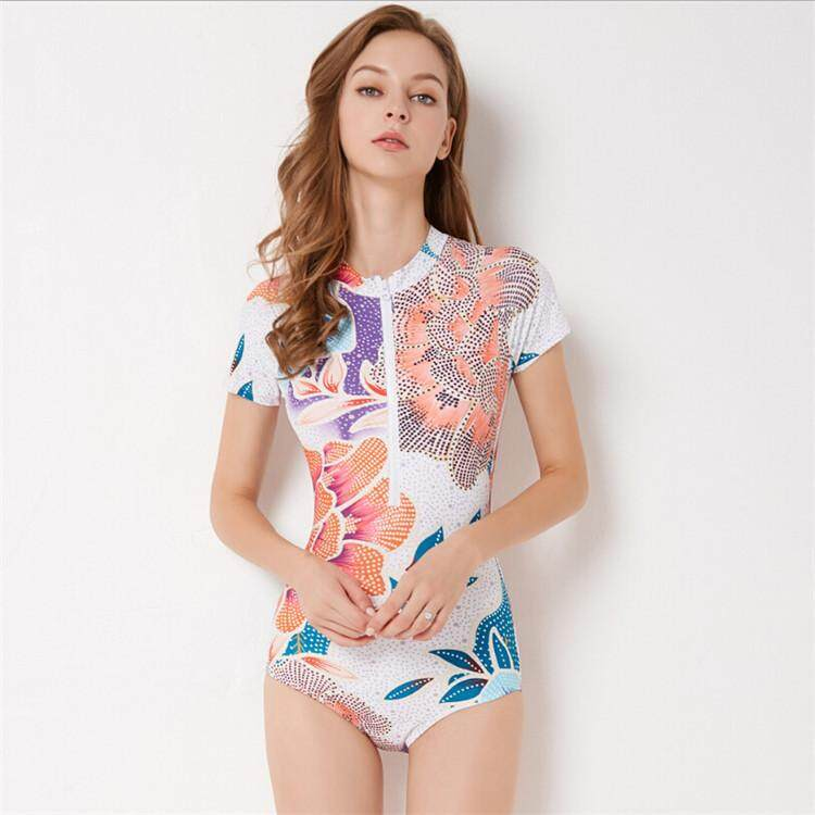 fb15454e47 Luoke Swimwear Women 2019 Fashion Front Zipper Floral Printed Swim Suits  Short Sleeve Lady Sport Surfing Swimsuit One Piece