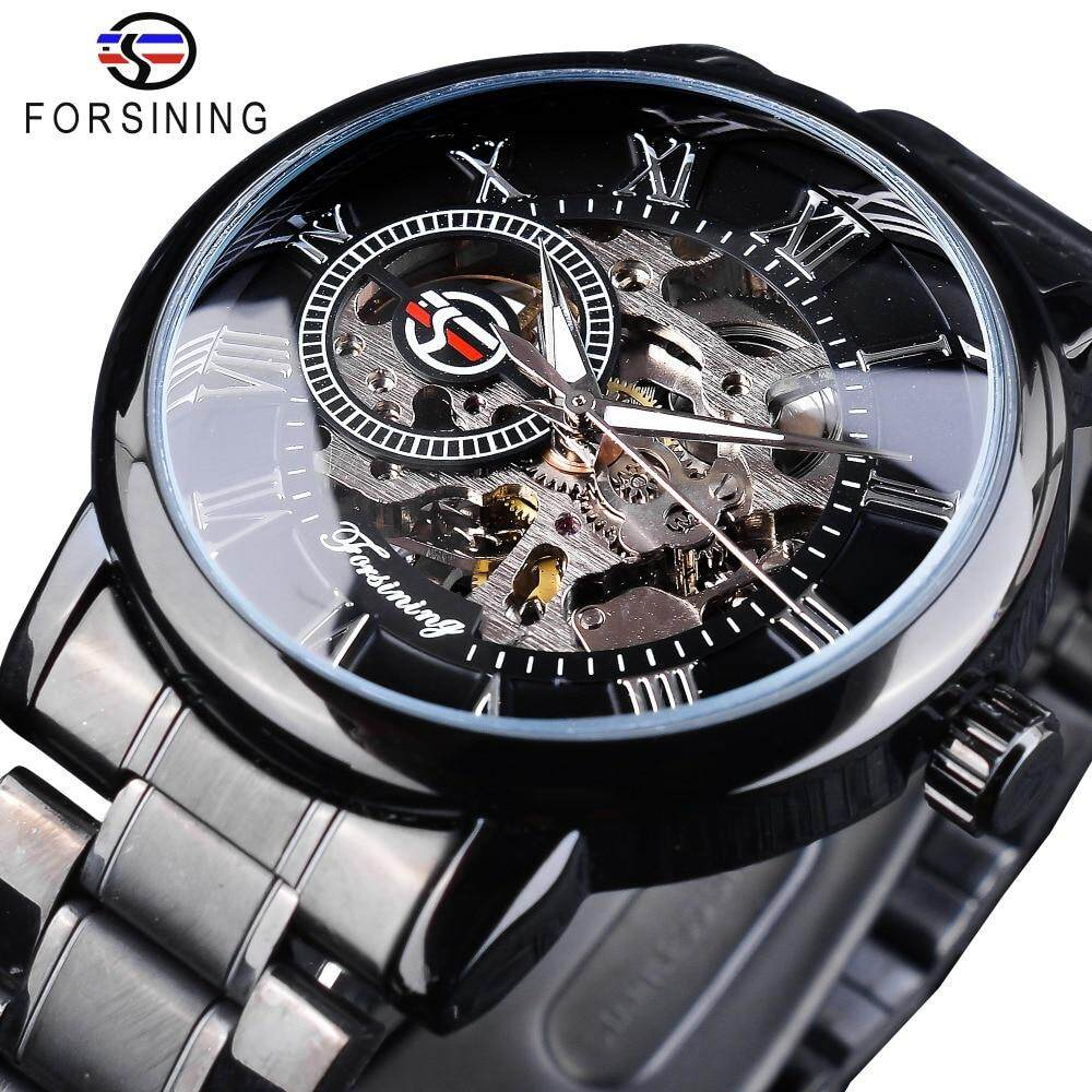 Forsining 3D Hollow Engraving Full Black Clock Luminous Hands Mens Mechanical Watches Top Brand Luxury Black Stainless Steel Malaysia