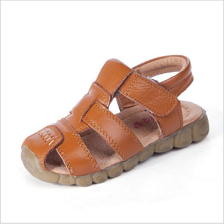 New Boys Soft Leather Sandals Baby Boys Summer Soft Sole Beach Sandals Shoes By Moonbeam.