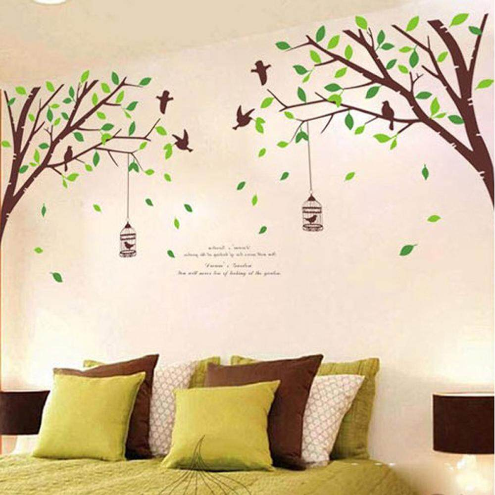 c0ad5aaac6 Green Tree Birdcage PVC Wall Decals DIY Home Sticker WallPaper Vinyl Wall  arts Pictures Removable Murals