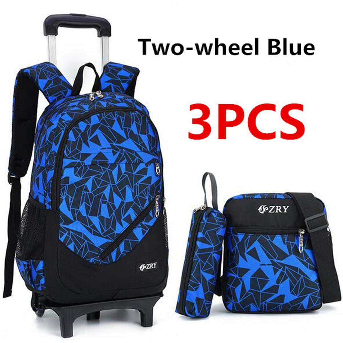 d7425af2dd 3Pcs Kids Teenagers School Bags Boy Removable Trolley Backpack Bag With  Wheels  2 wheel