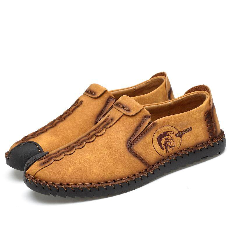 4eecb37bbae7a Men Casual Shoes Loafers Driving Shoes Split Leather Shoes Men Flats Moccasins  Shoes - Brown