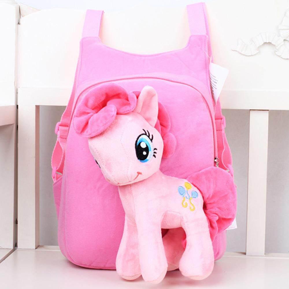 5833f6c4808a Children Kids Baby Girls Cute 3D Horse Cartoon Pony Short Plush Schoolbag School  Bag Backpack for