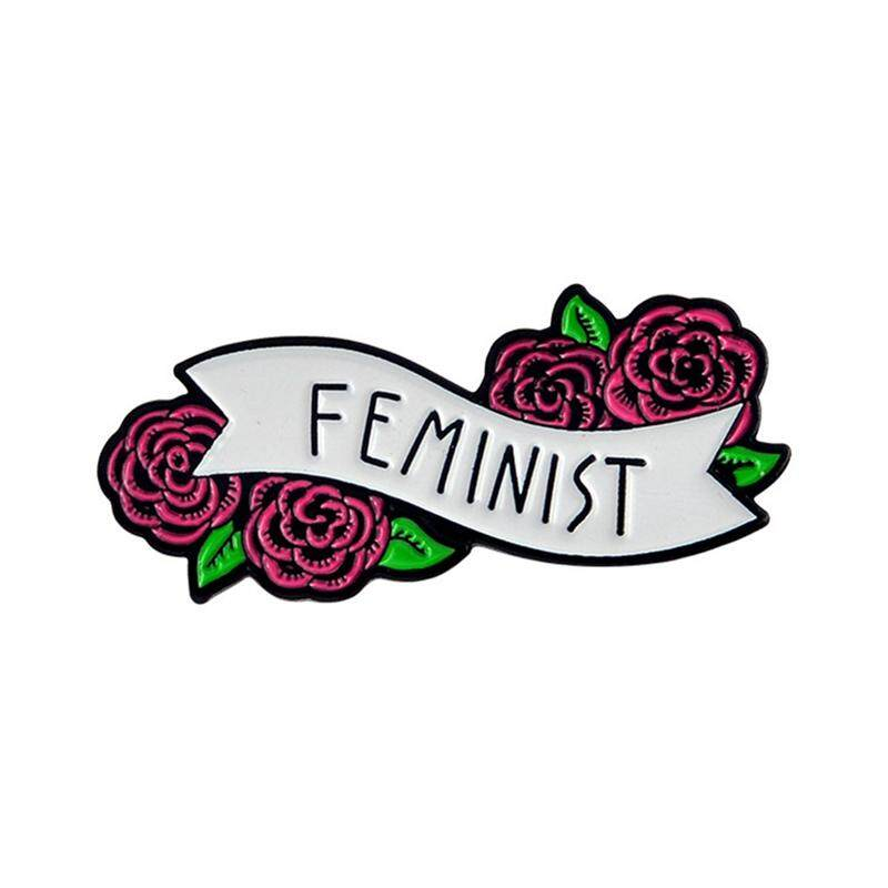 Fancyqube Creative Feminist Enamel Pin Banner With Flowers Brooches For Women By Fancyqube Fashion.