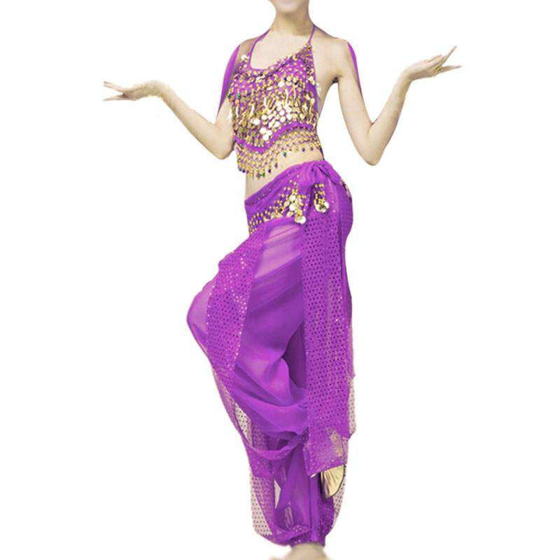 70f77a29127ed Belly dance clothes costume belly dance set indian dance wear 2pcs  Top&Pant(purple)