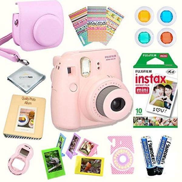 Fujifilm Instax Mini 8 Camera + Fuji INSTAX Instant Film + 14 PC Instax Accessories kit Bundle, Includes; Instax Case + Album + Frames & Stickers + Lens Filters + MORE
