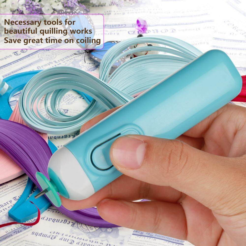 Electric Slotted Paper Crafts Quilling Tool Origami Winder Steel Curling Pen DIY