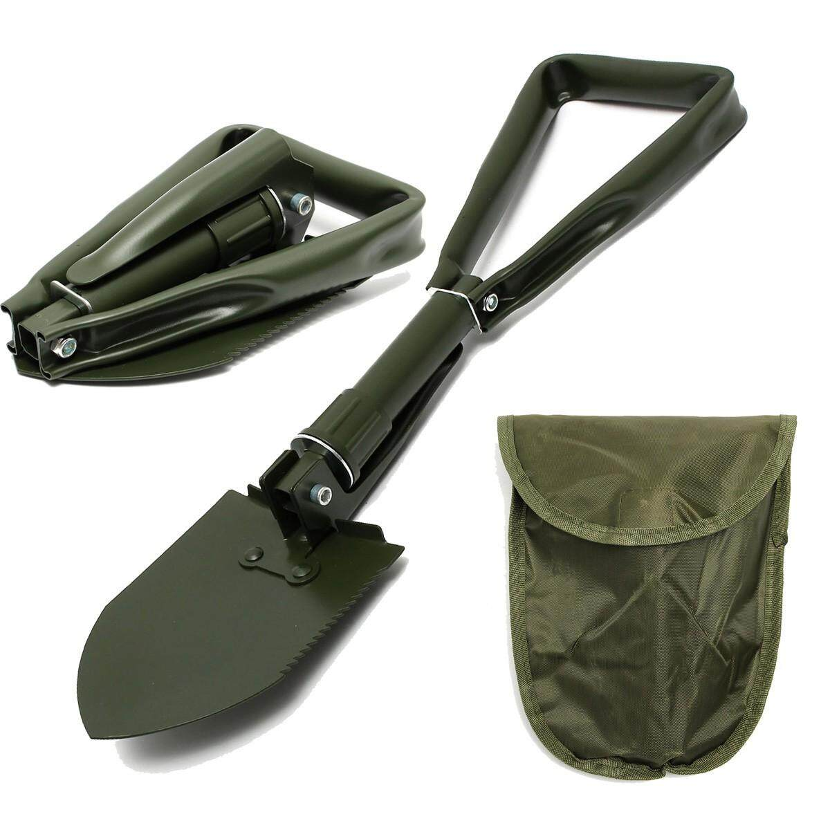 Folding Sho-vel Spa-de Metal Pick A-xe Emergency En-trenching Army Tool Car S-coop