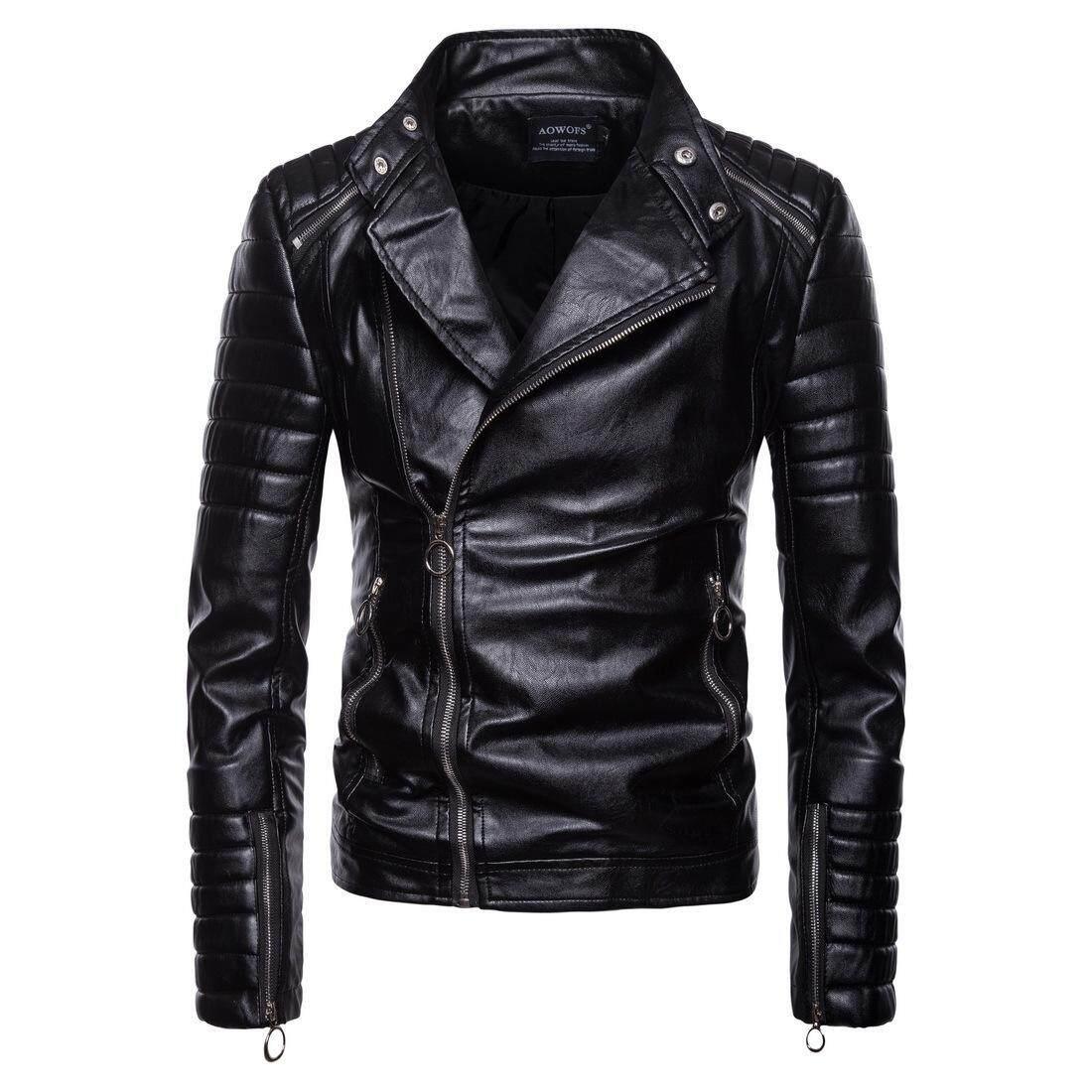 8a902b332 Josin Men s Motorcycle Biker Jacket Korean Style Genuine Cow Leather ...