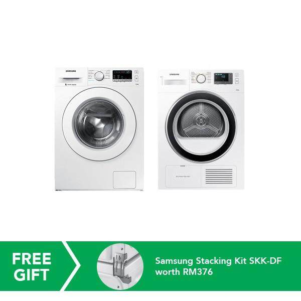 Samsung 7kg Front Load Washer + 8kg Condenser Front Load Dryer